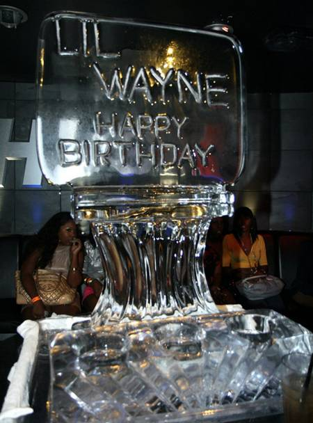 Ice sculpture from previous party