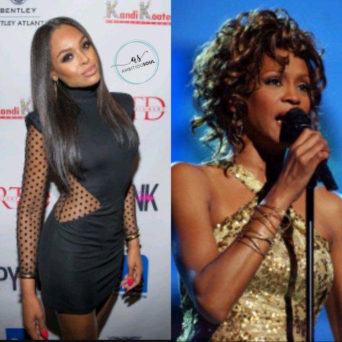 Demetria Mckinney (left) and Whitney Houston (right)
